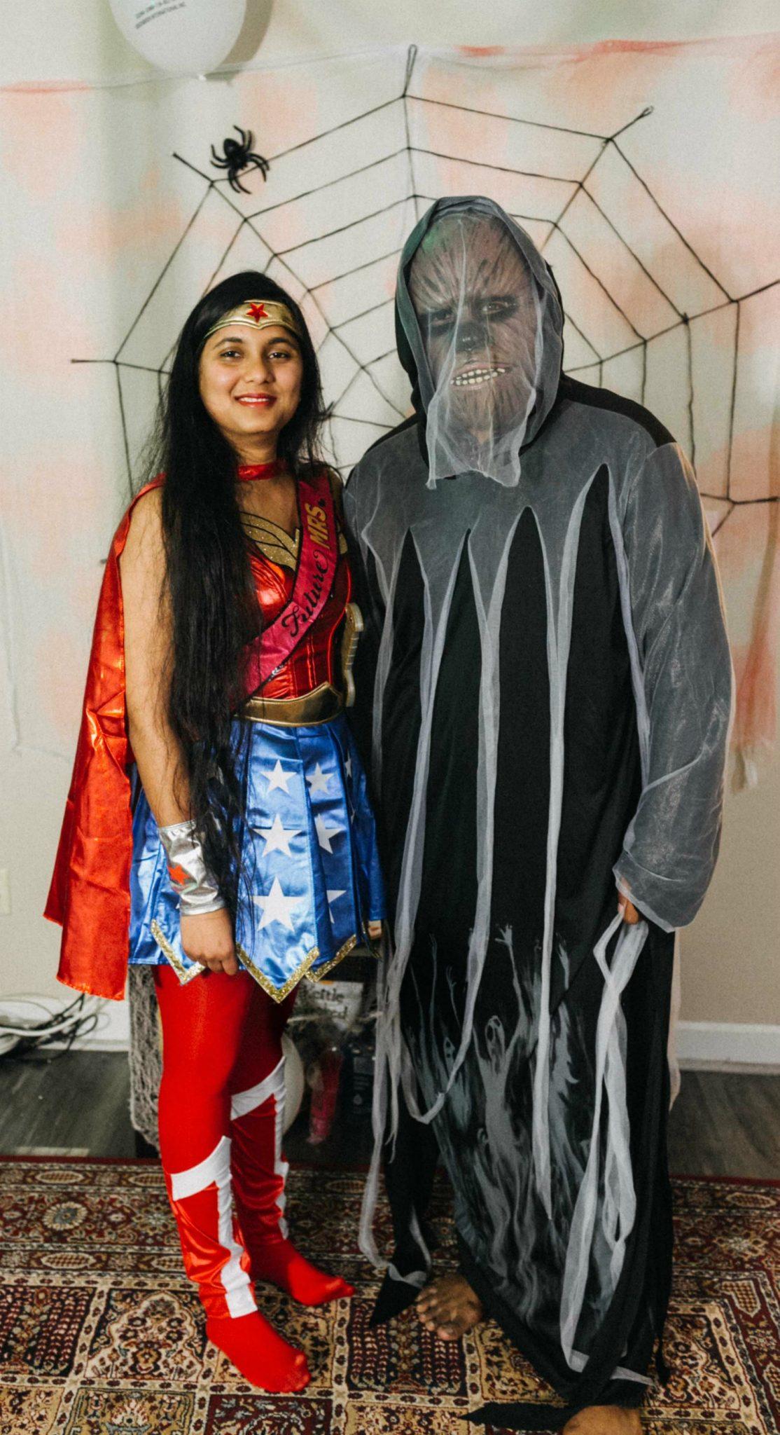 Halloween Bachelorette bride and groom costumesv
