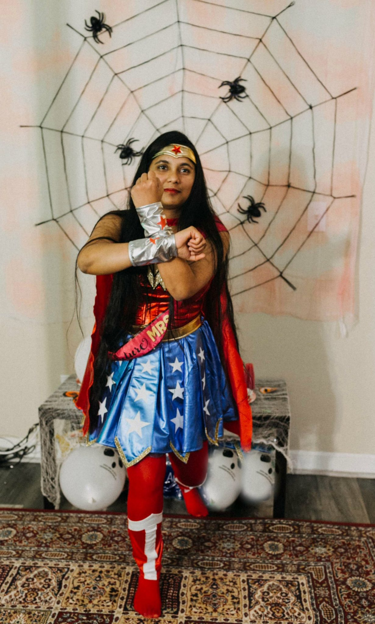Halloween Bachelorette wonder women costume 95 Scary Fun Ideas for your Halloween Bachelorette Party- Costumes, Decorations and Games featured by top Ohio life and style blog, Dreaming Loud