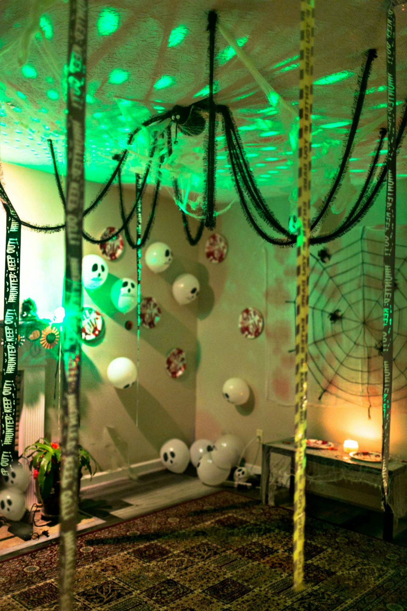Hallowen decoration ideas with caution tapes5 Scary Fun Ideas for your Halloween Bachelorette Party- Costumes, Decorations and Games featured by top US life and style blog, Dreaming Loud