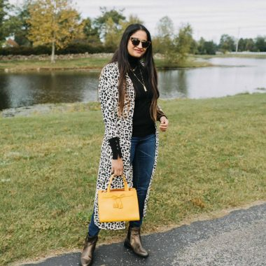 Leopard print and yellow | how to wear leopard print kimono | Aetrex fall booties featured by top Ohio fashion blog, Dreaming Loud