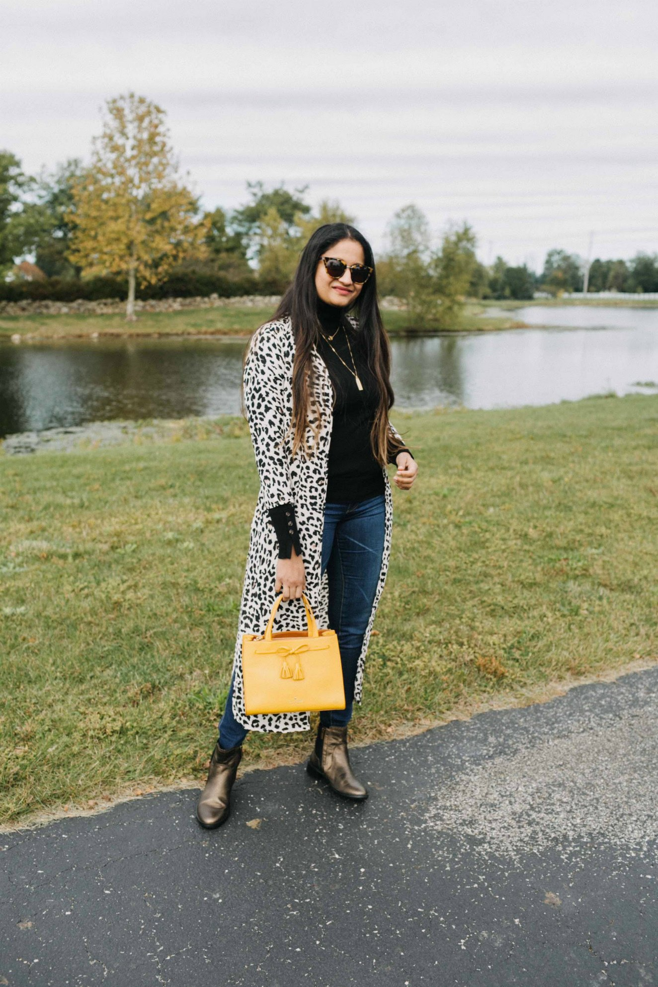 Leopard print and yellow | how to wear leopard print kimono | Aetrex fall booties featured by top US fashion blog, Dreaming Loud