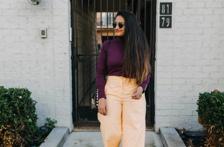 Wearing Chadwicks of Boston Sumptuously Soft Pearl Accented Turtleneck Sweater in purple | purple and orange outfit | Ann Taylor Sale Favorites featured by top Ohio fashion blog, Dreaming Loud