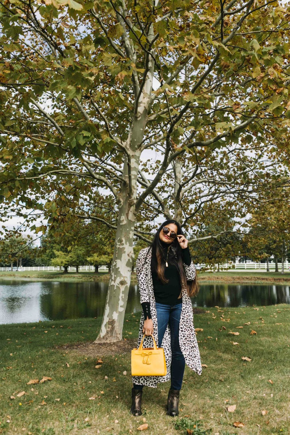 Wearing Dynamite leopard PRINTED MAXI KIMONO | Aetrex fall booties featured by top Ohio fashion blog, Dreaming Loud