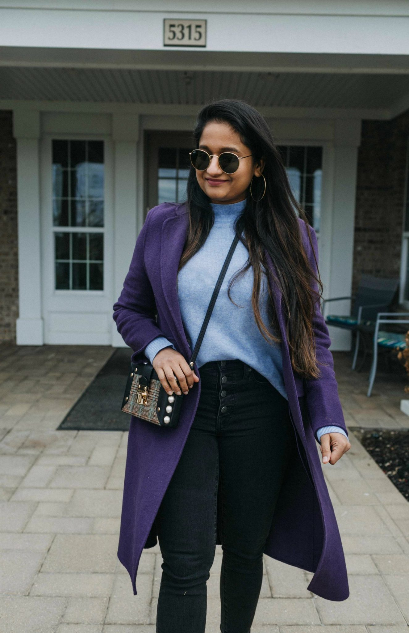 Wearing and other stories Structured Pearl Framed Crossbody 1 | Blue and Purple outfit for Fall, featured by top US modest fashion blog, Dreaming Loud