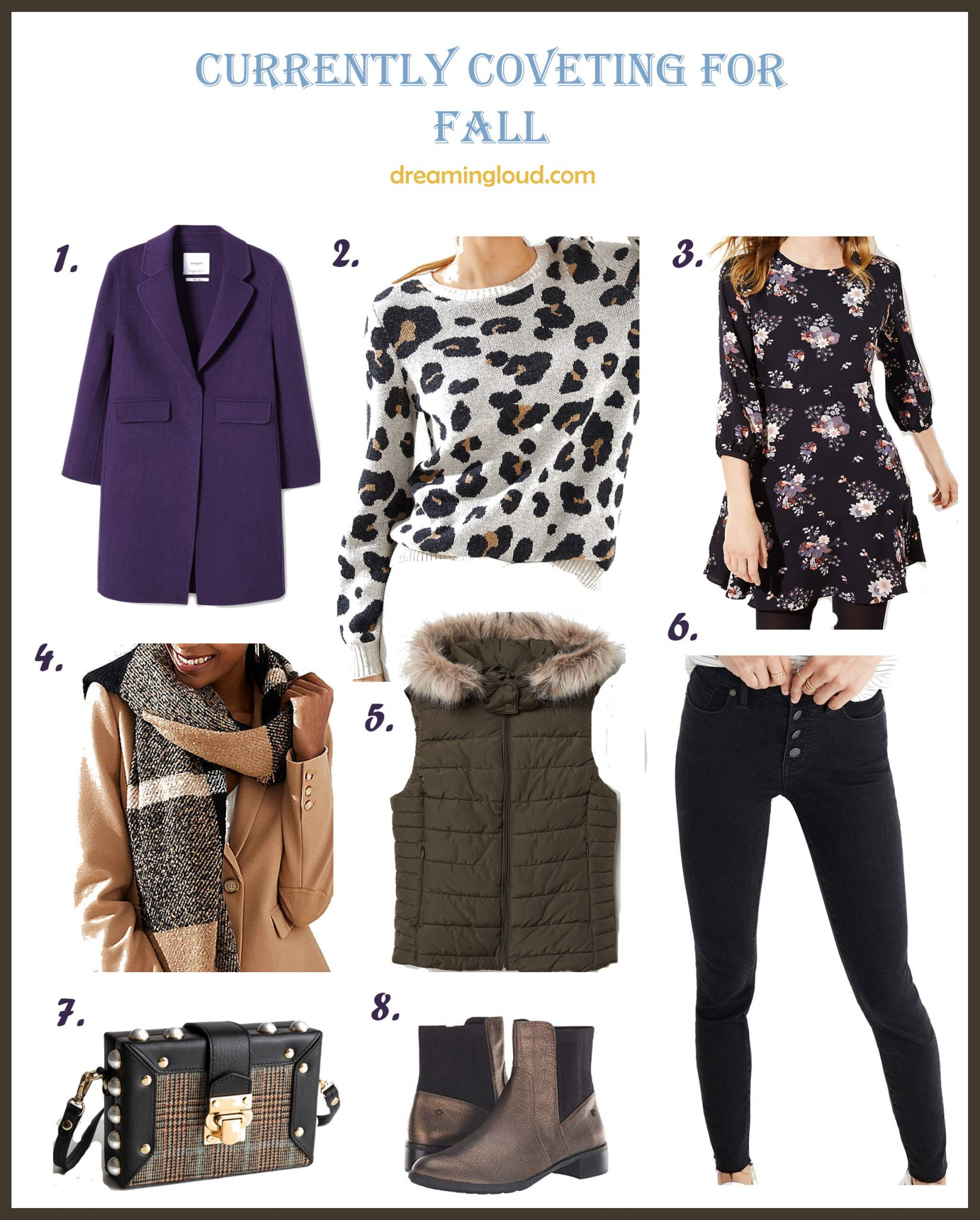 Weekly Fall Fashion Finds ft. the Cutest Purple and Blue Outfit featured by top US modest fashion blog, Dreaming Loud