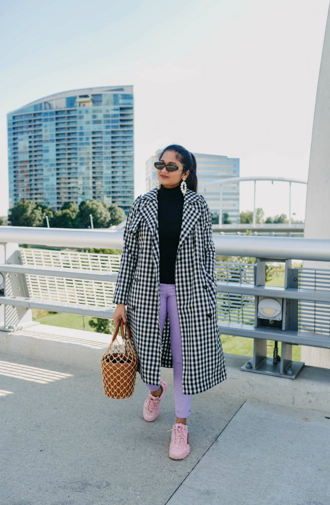 how to wear gingham trench with lilac pants| 5 Chic Ways to Wear the New Chunky Sneaker Trend: ugly sneakers & dad sneakers, featured by popular US fashion blogger, Dreaming Loud