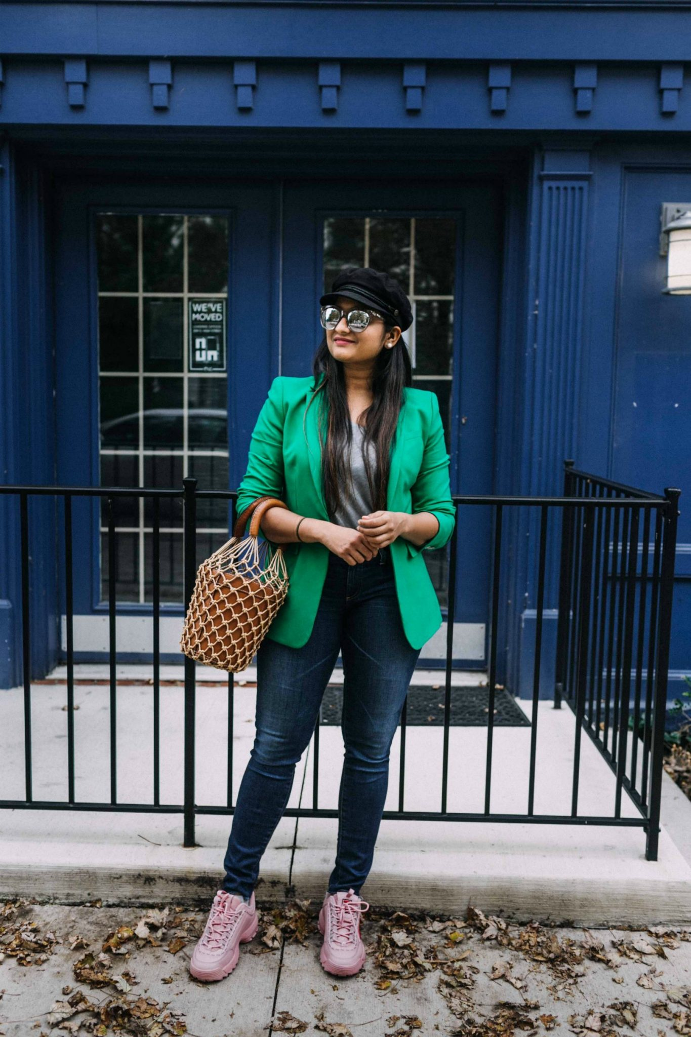 how to wear or style green blazer with sneakers| 5 Chic Ways to Wear the New Chunky Sneaker Trend: ugly sneakers & dad sneakers, featured by popular US fashion blogger, Dreaming Loud