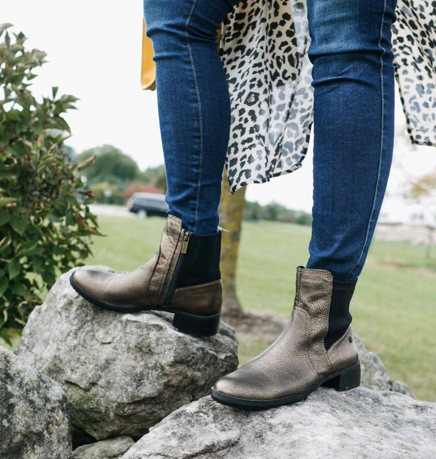 wearing Aetrex Kaitlyn Knit Boot in bronze | Aetrex fall booties featured by top Ohio fashion blog, Dreaming Loud