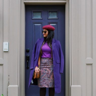 wearing-Chadwicks-of-Boston-Comfort-Waist-Corduroy-Skirt-in-paisley-print | Paisley Print Corduroy Skirt featured by top Ohio fashion blog, Dreaming Loud