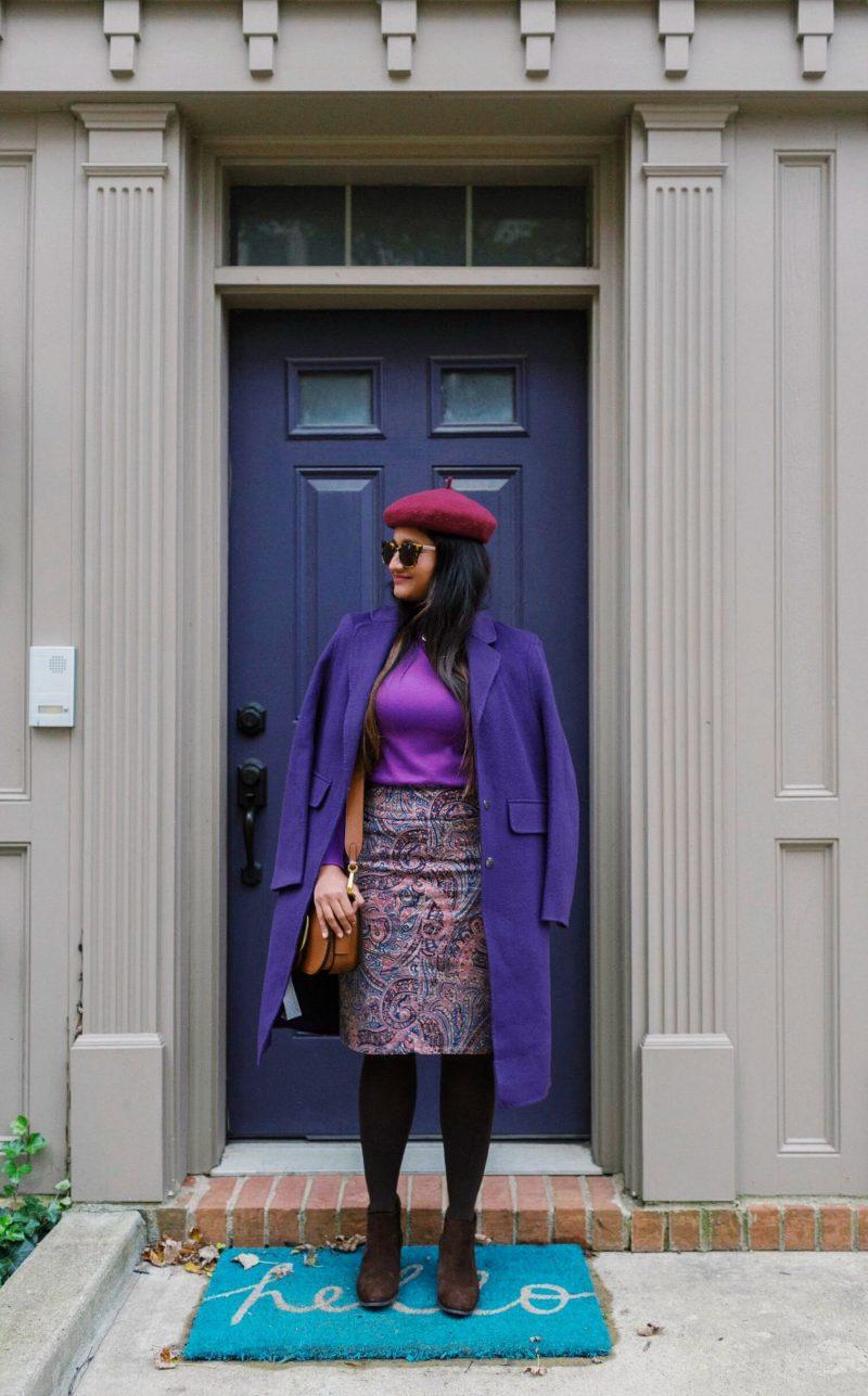 wearing-Chadwicks-of-Boston-Comfort-Waist-Corduroy-Skirt-in-paisley-print | Paisley Print Corduroy Skirt featured by top Ohio fashion blog, Dreaming Loud