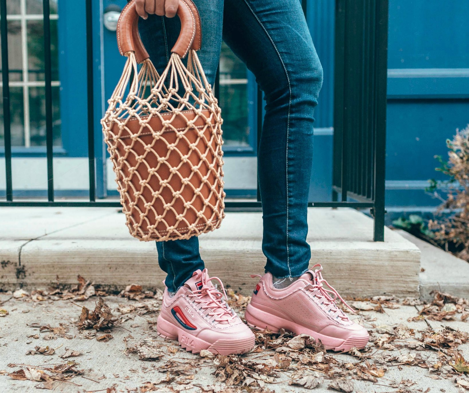 wearing Fila Disruptor II Premium Sneaker in pink| 5 Chic Ways to Wear the New Chunky Sneaker Trend: ugly sneakers & dad sneakers, featured by popular US fashion blogger, Dreaming Loud