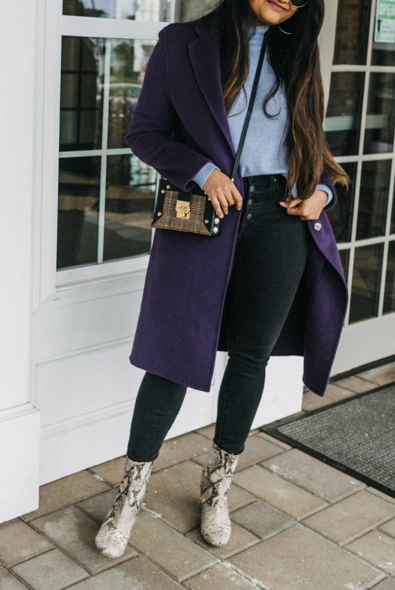 wearing Free People Cecile Leather Snake Print Block Heel Mid Calf Booties 2 | Blue and Purple outfit for Fall, featured by top Ohio modest fashion blog, Dreaming Loud
