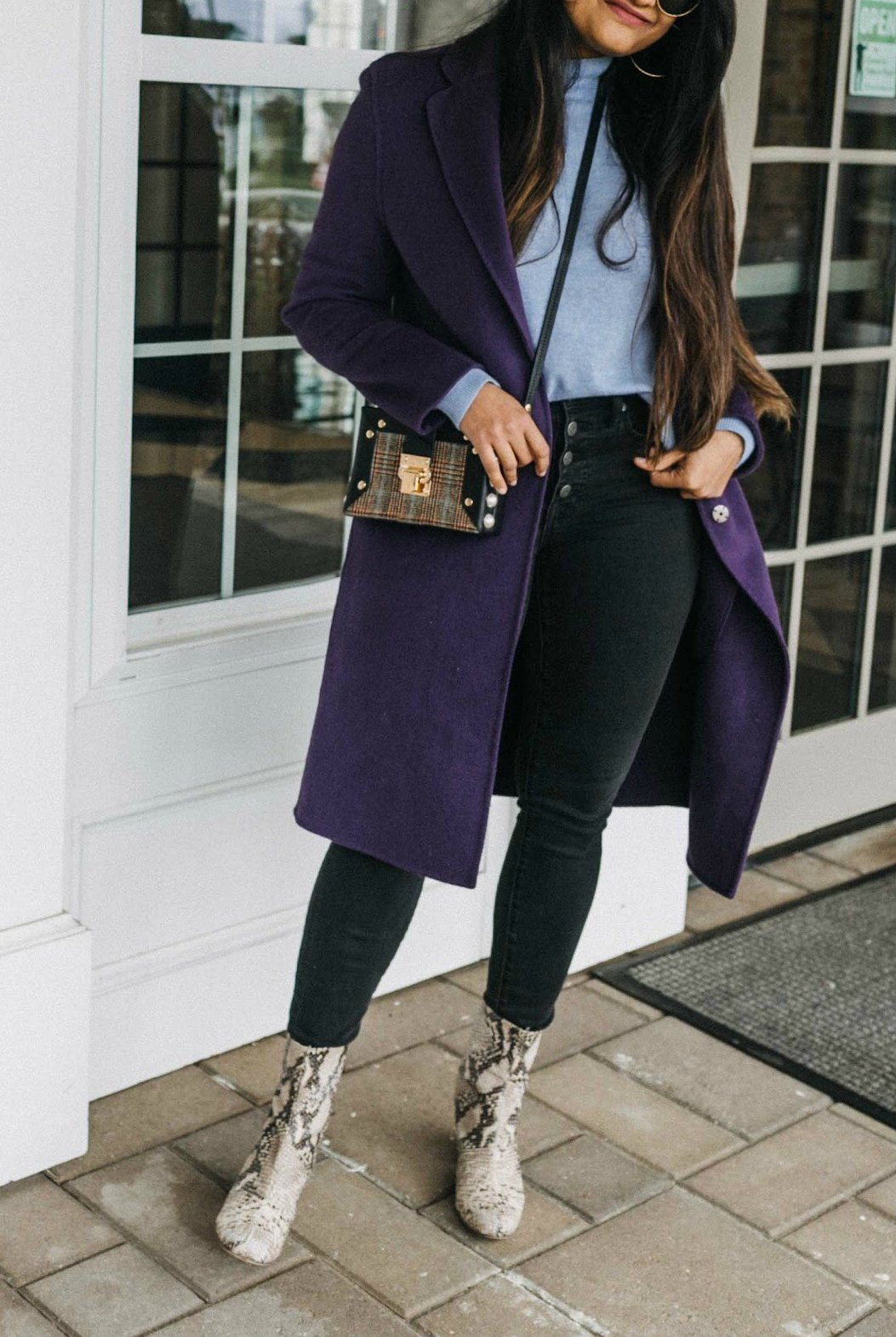 wearing Free People Cecile Leather Snake Print Block Heel Mid Calf Booties 2 | Blue and Purple outfit for Fall, featured by top US modest fashion blog, Dreaming Loud
