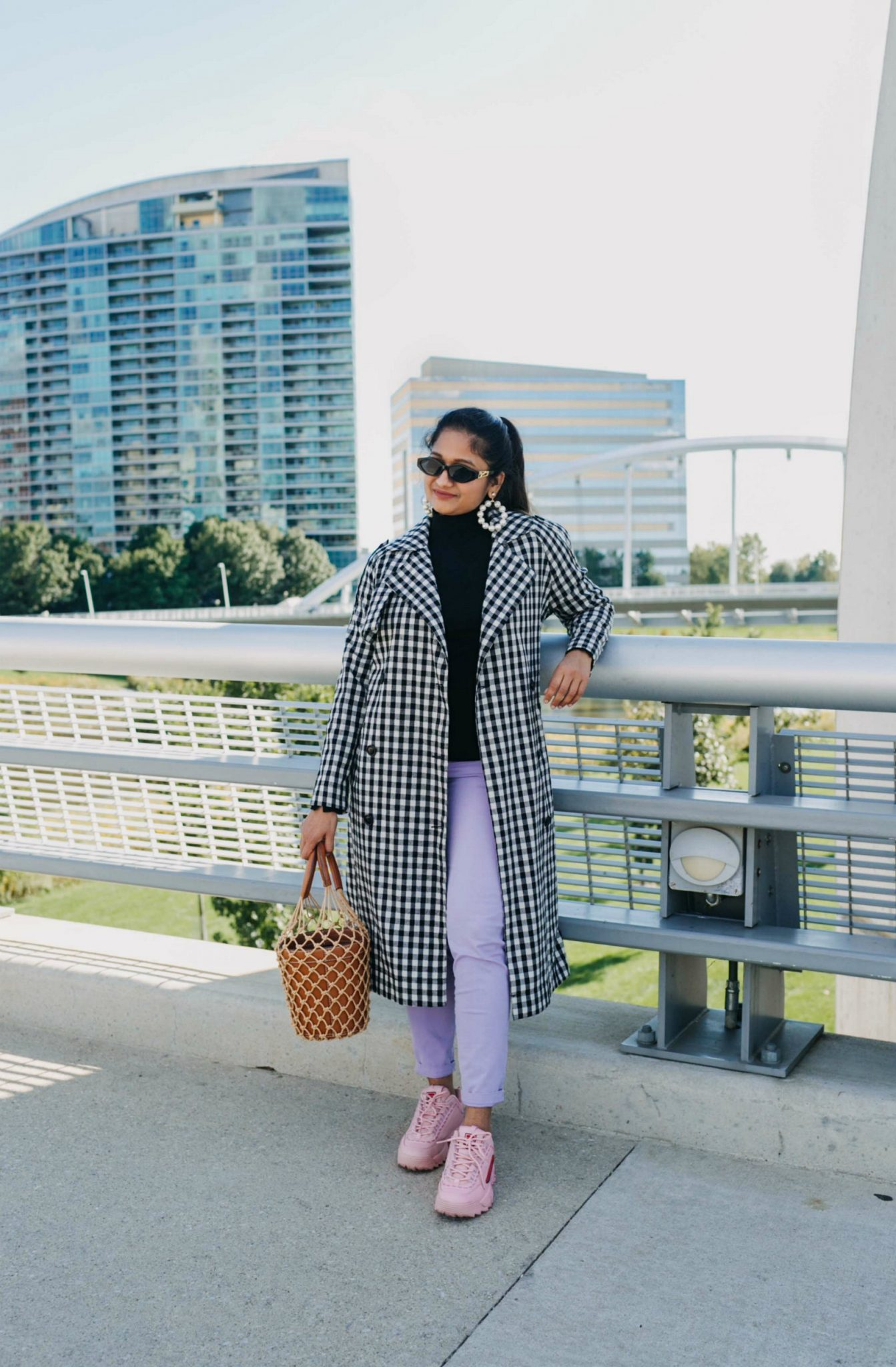 wearing GISI pearl hoop earrings| 5 Chic Ways to Wear the New Chunky Sneaker Trend: ugly sneakers & dad sneakers, featured by popular US fashion blogger, Dreaming Loud