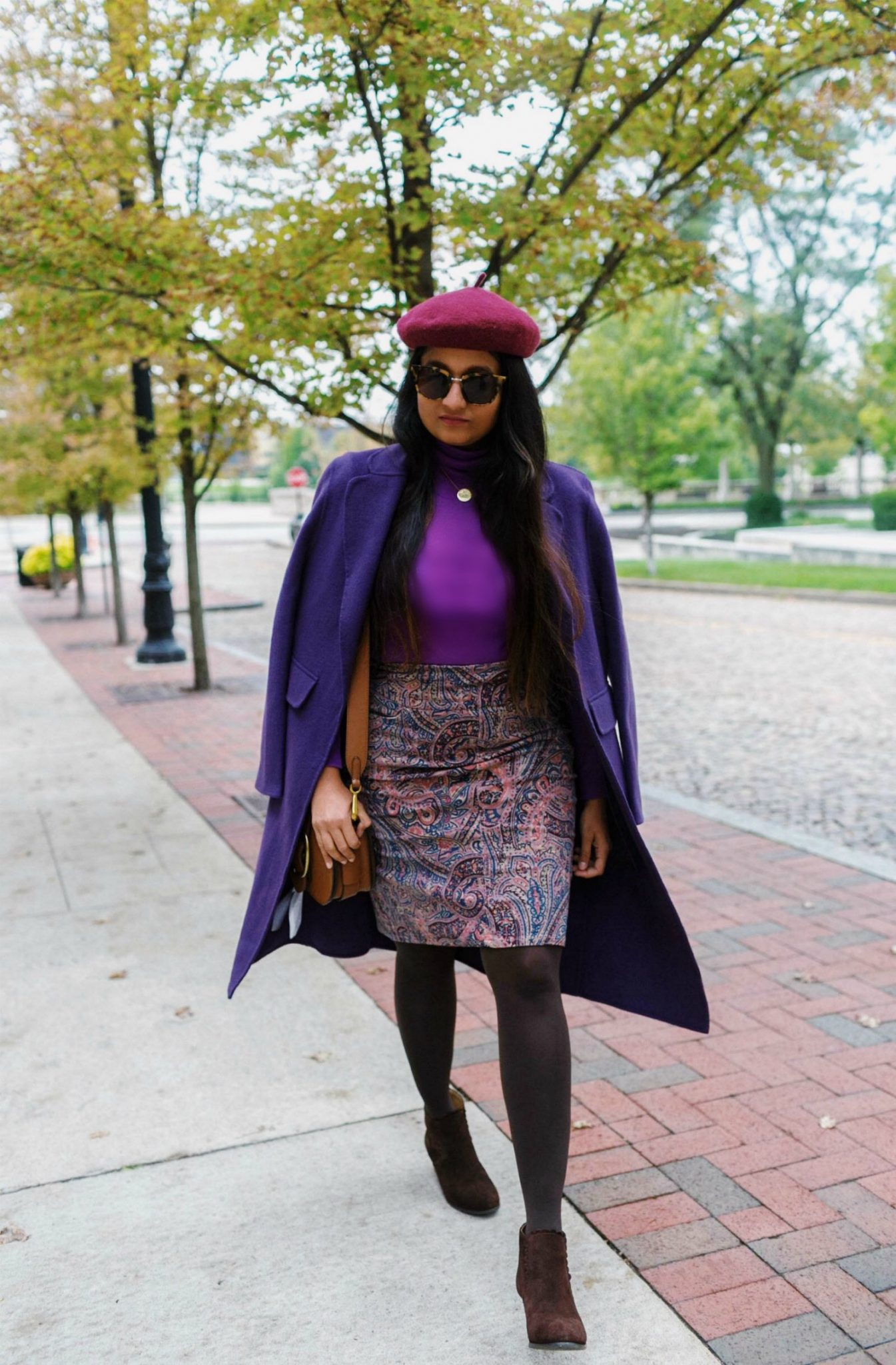 wearing-Jack-Rogers-Womens-Emery-Suede-Boots  | Paisley Print Corduroy Skirt  featured by top Ohio fashion blog, Dreaming Loud