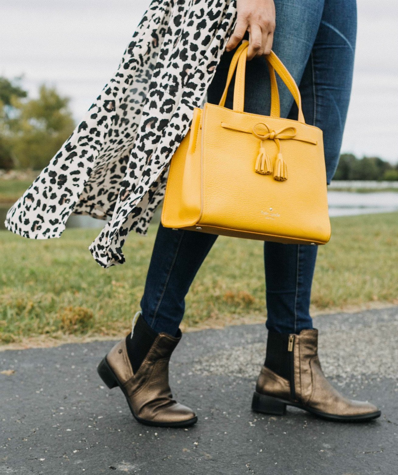 wearing MICHAEL Michael Kors Mercer Medium Messenger in marigold | Aetrex fall booties featured by top Ohio fashion blog, Dreaming Loud