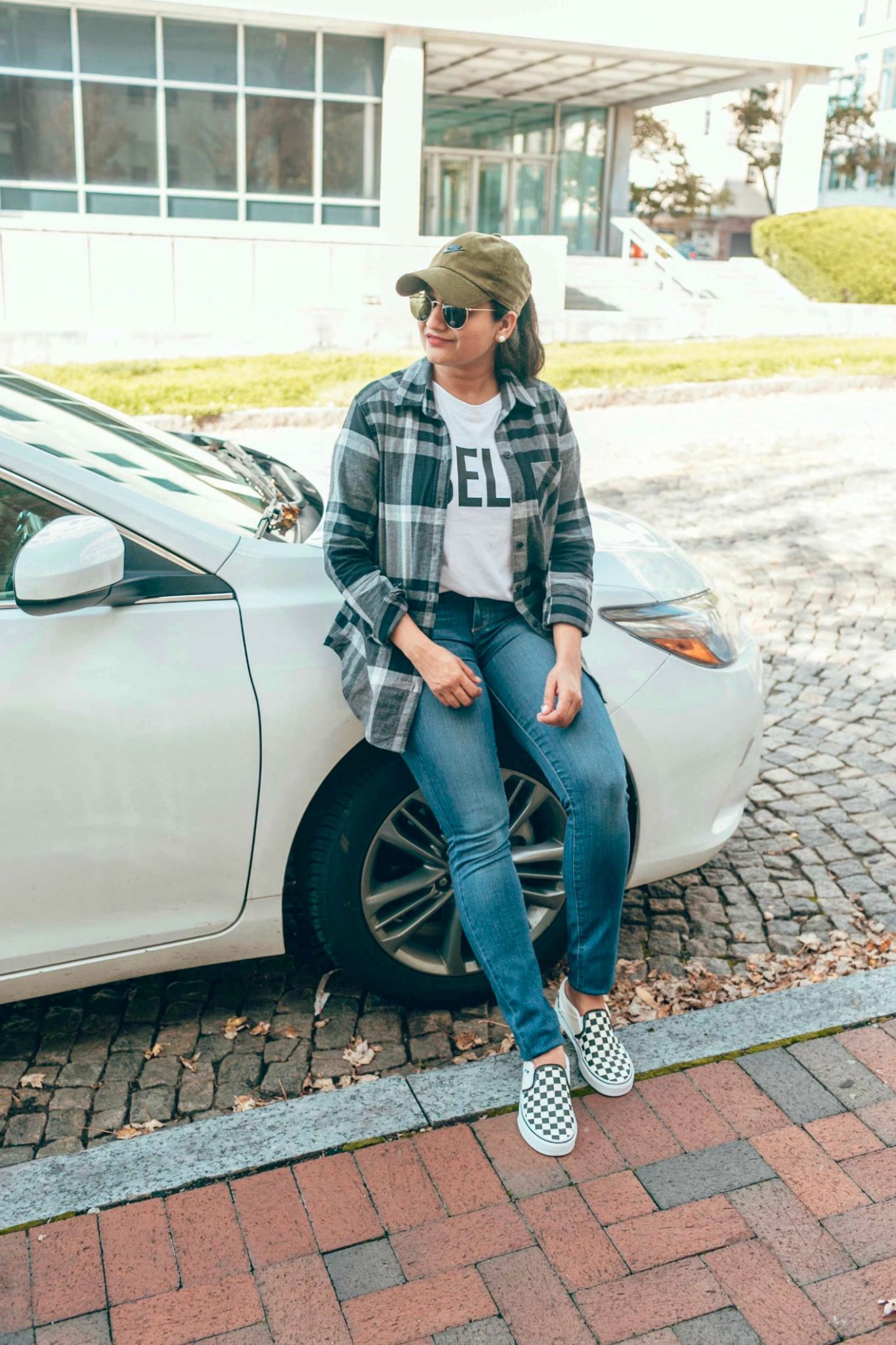 How to take your Boyfriend Flannel Shirt From Weekday to Weekend | Eddie Bauer boyfriend flannel shirt styled 4 ways, featured by top Ohio modest fashion blog, Dreaming Loud