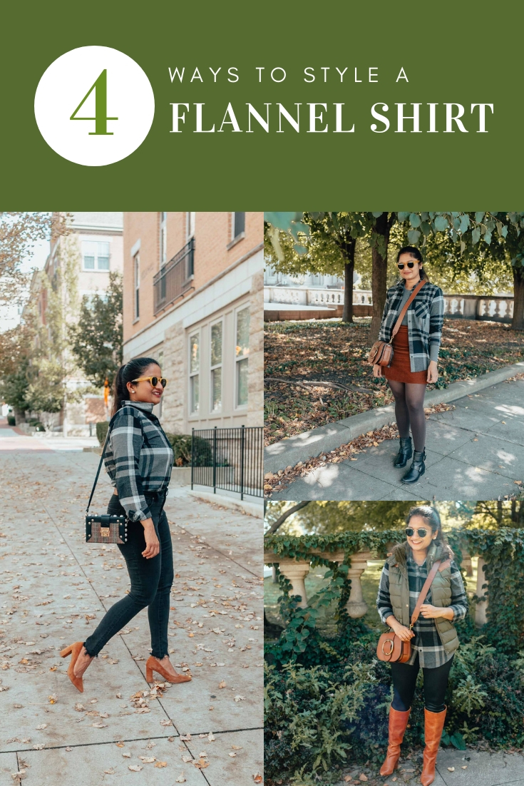 How to take your flannel shirt from weekday to weekend (4 outfits) | Eddie Bauer boyfriend flannel shirt styled 4 ways, featured by top Ohio modest fashion blog, Dreaming Loud