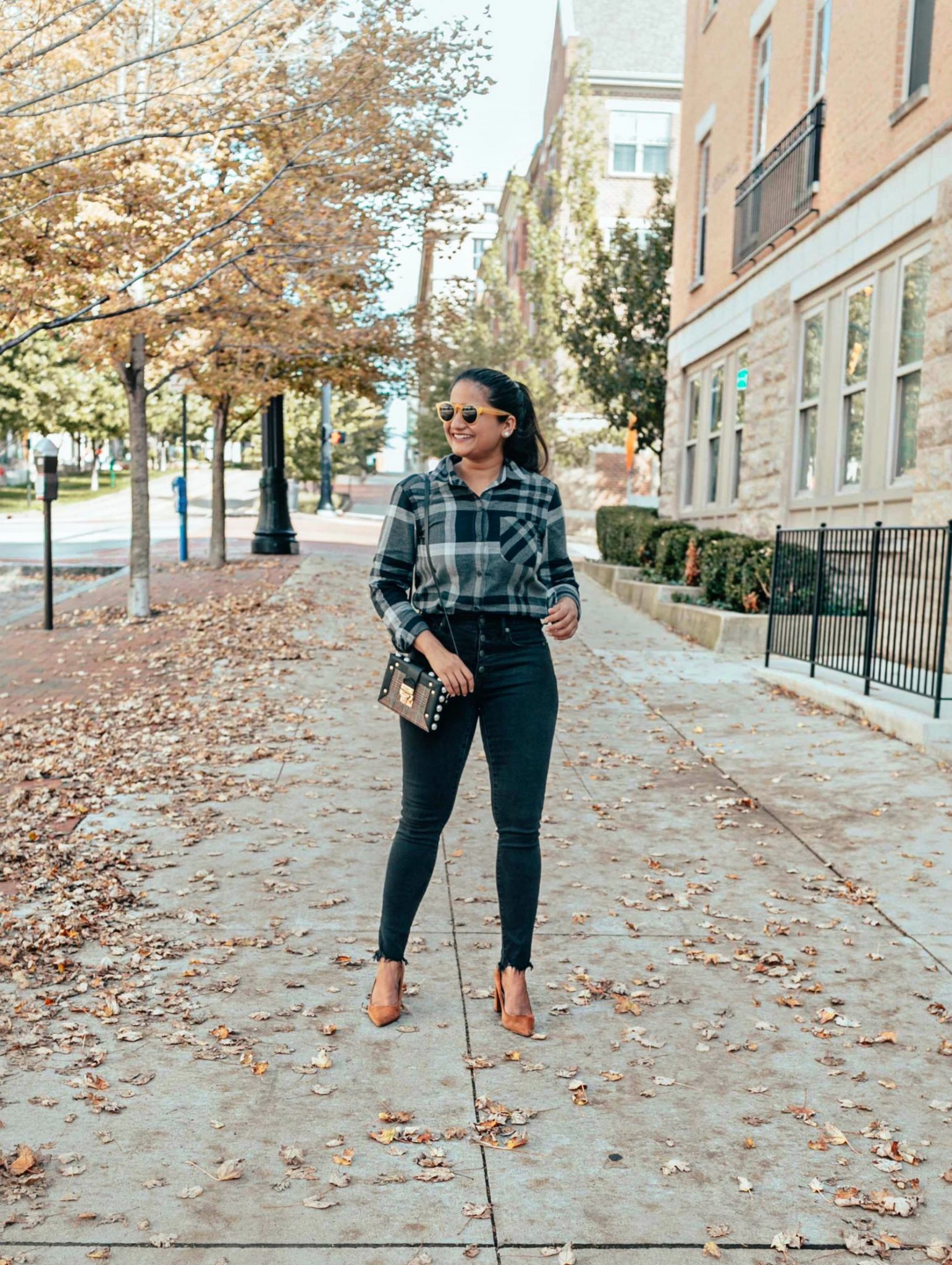 How to wear flannel shirts to work | Eddie Bauer boyfriend flannel shirt styled 4 ways, featured by top Ohio modest fashion blog, Dreaming Loud