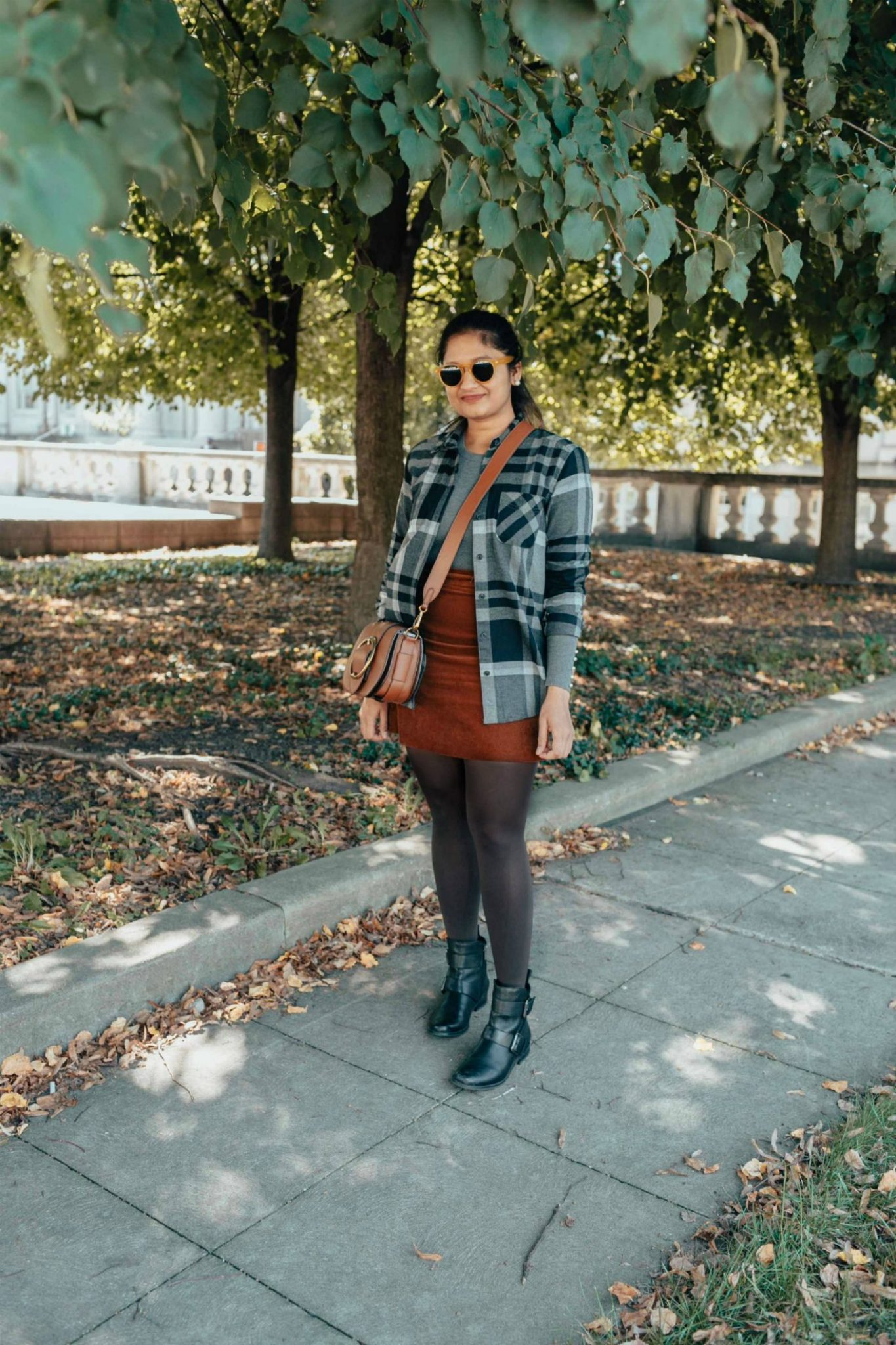 how to wear or dress up a flannel shirt | Eddie Bauer boyfriend flannel shirt styled 4 ways, featured by top Ohio modest fashion blog, Dreaming Loud