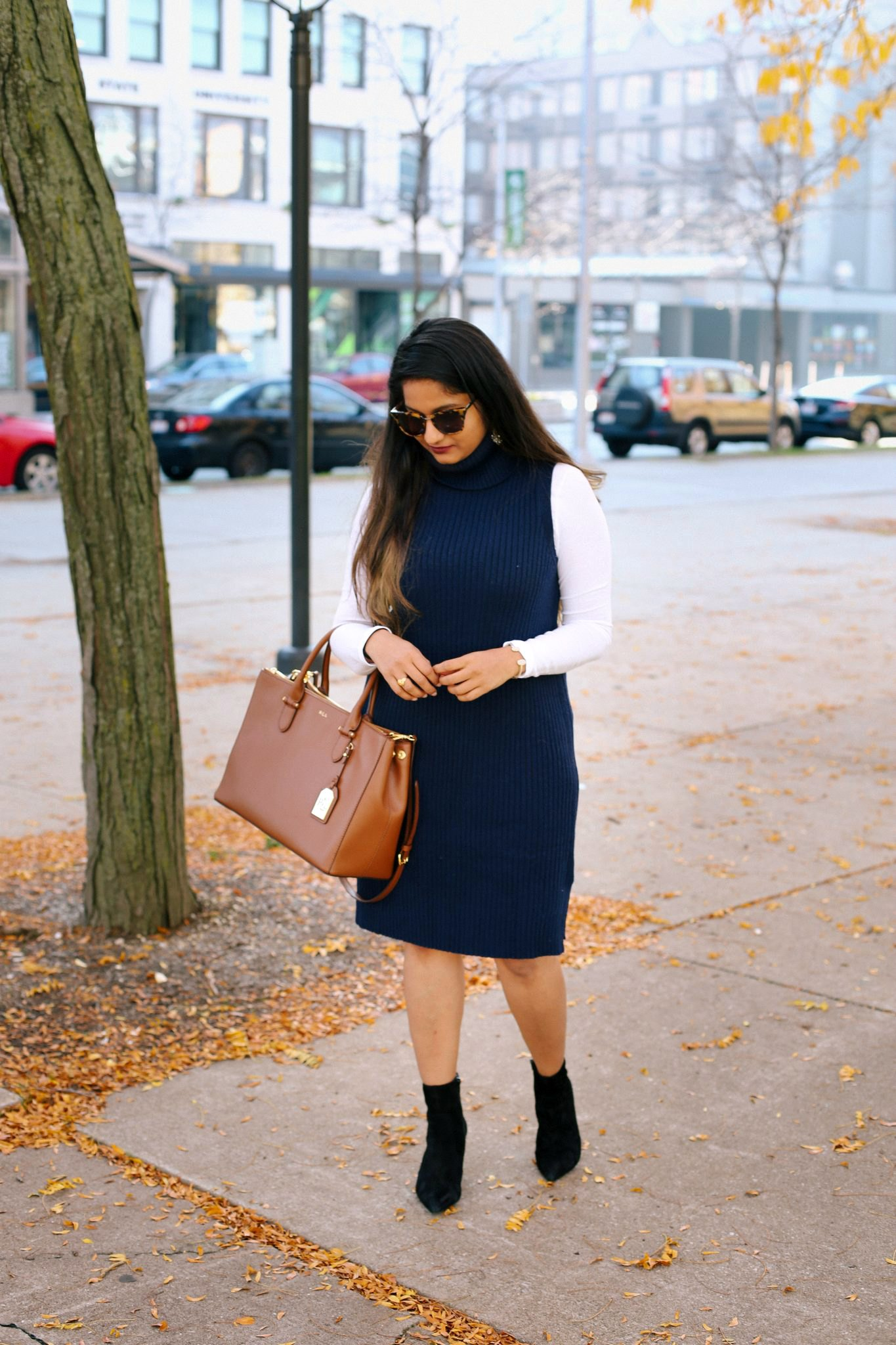 how to layer RIBBED TURTLENECK TANK dress| 13 Cozy and Cute Thanksgiving outfit ideas featured by top US modest fashion blog, Dreaming Loud