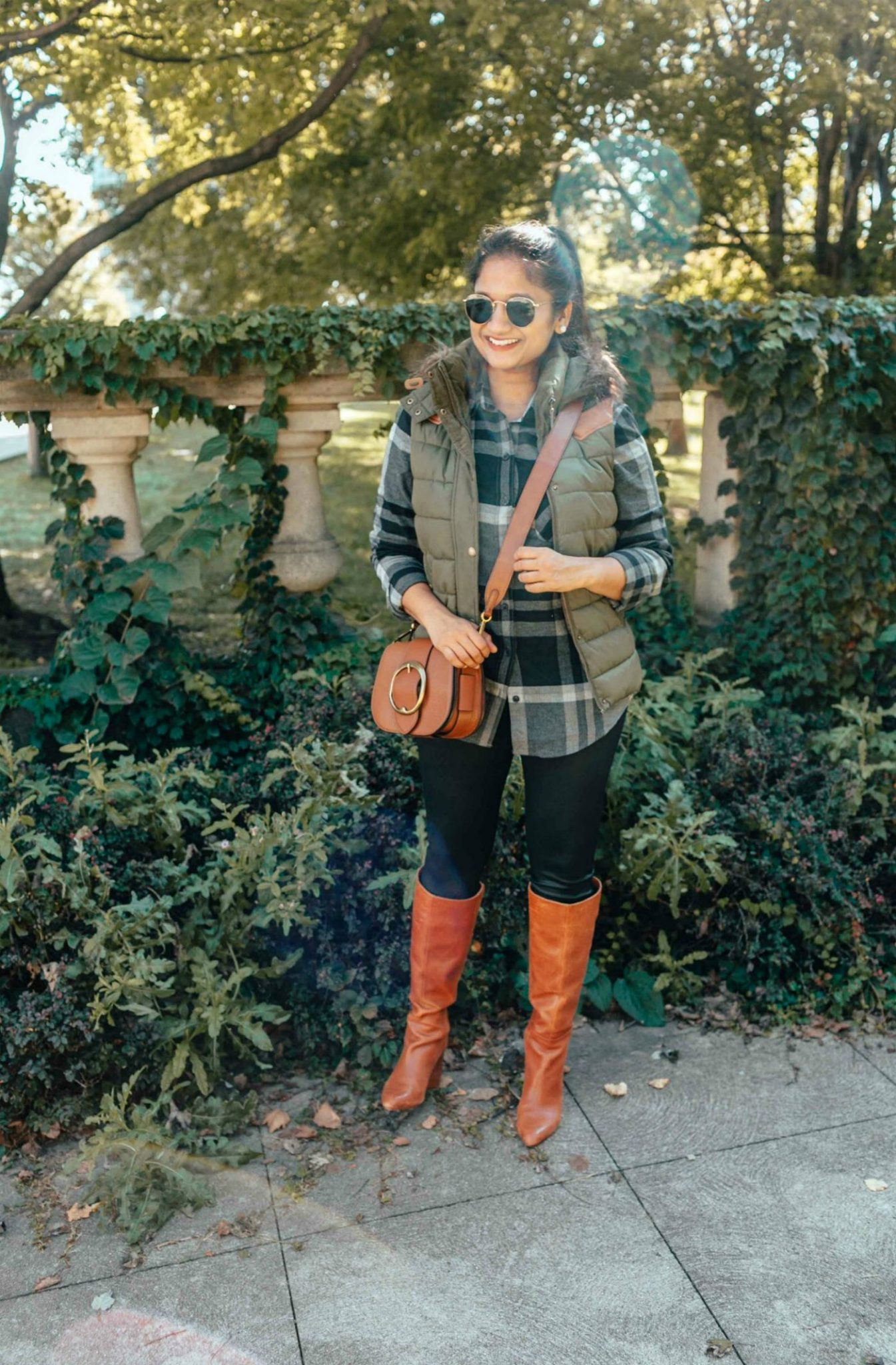 how to wear faux leather legging with flannel shirt| 13 Cozy and Cute Thanksgiving outfit ideas featured by top US modest fashion blog, Dreaming Loud