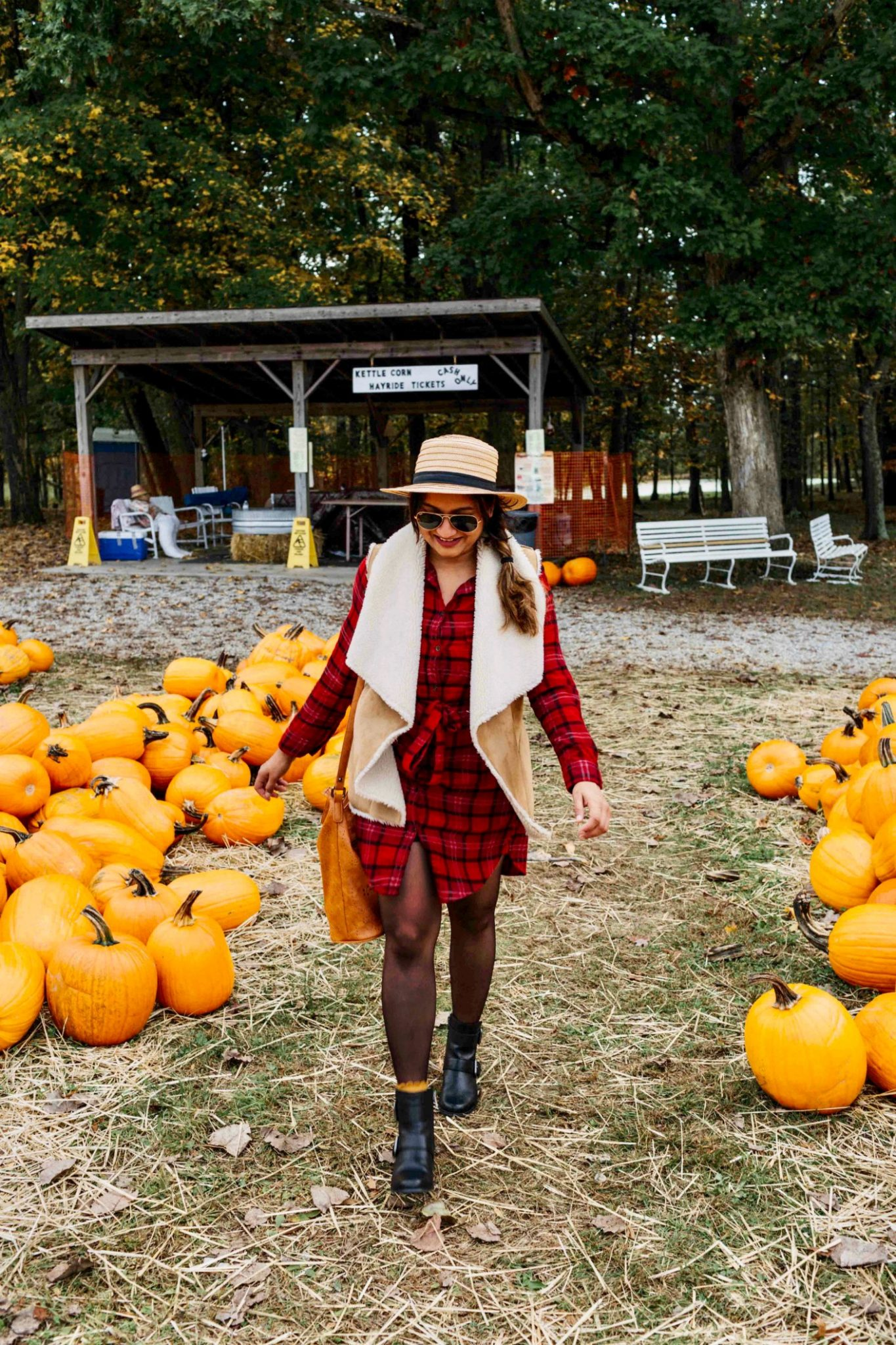 pumpkin patch outfit ideas | plaid shirtdress 1| 13 Cozy and Cute Thanksgiving outfit ideas featured by top US modest fashion blog, Dreaming Loud