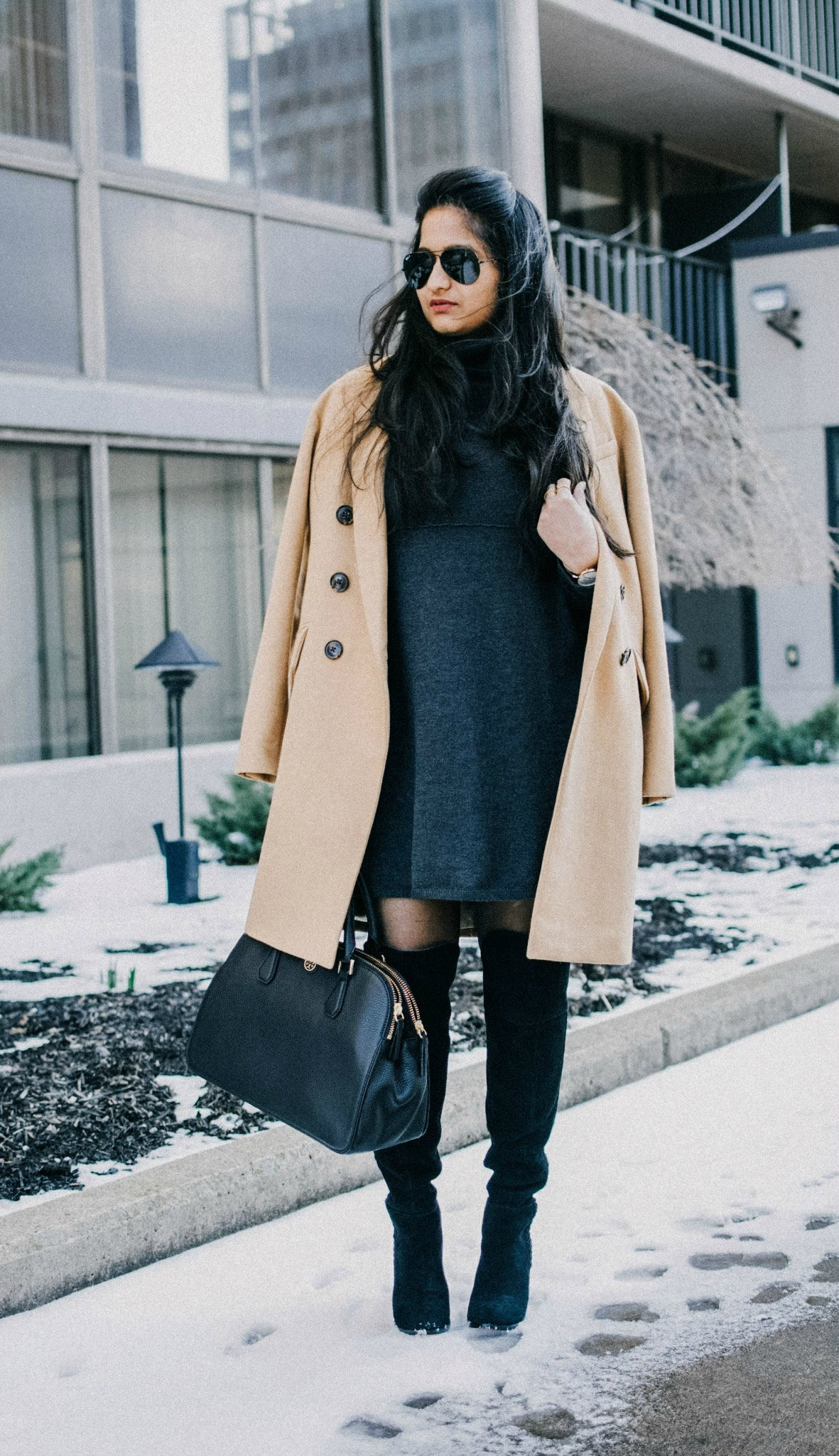 sweater dress with over the knee boots | dressy and chic thanksgiving ideas-2| 13 Cozy and Cute Thanksgiving outfit ideas featured by top US modest fashion blog, Dreaming Loud