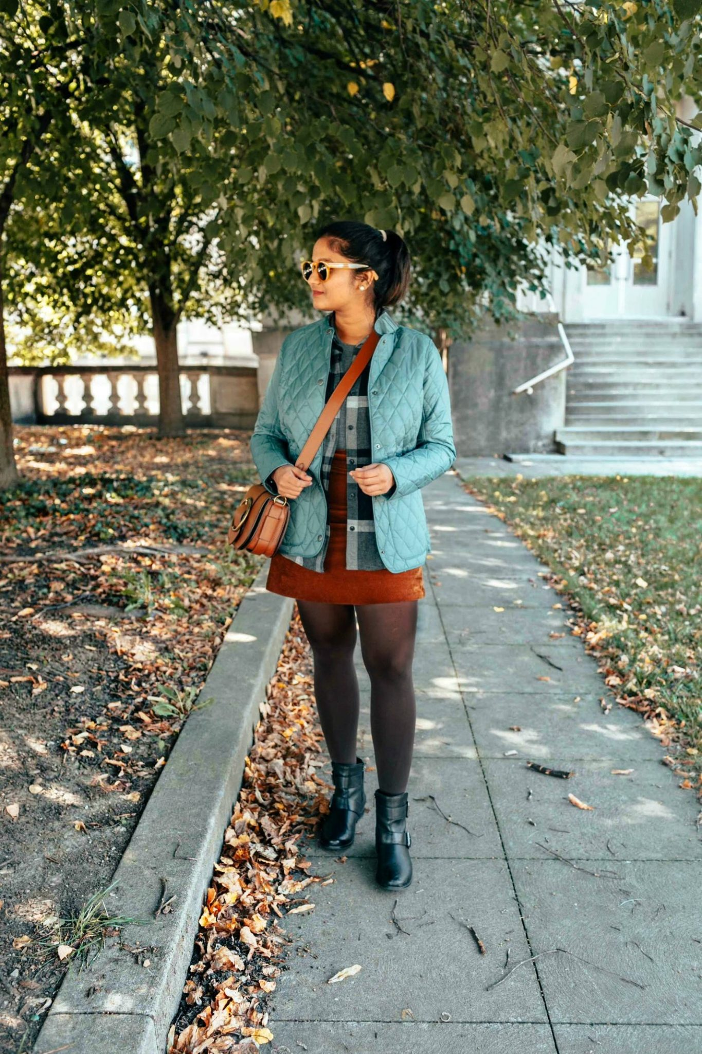 wearing Barbour Annandale Quilted Jacket in eucalyptus 2 | Eddie Bauer boyfriend flannel shirt styled 4 ways, featured by top Ohio modest fashion blog, Dreaming Loud