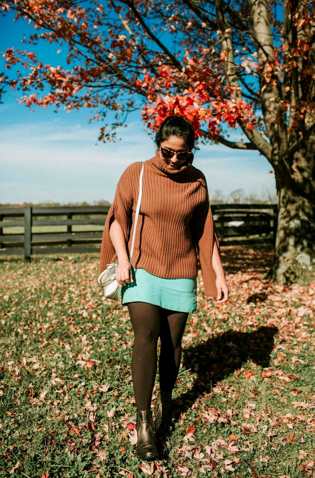 wearing Boden Dorchester Skirt in mint | dressy thanksgiving outfit ideas13 Cozy and Cute Thanksgiving outfit ideas featured by top US modest fashion blog, Dreaming Loud