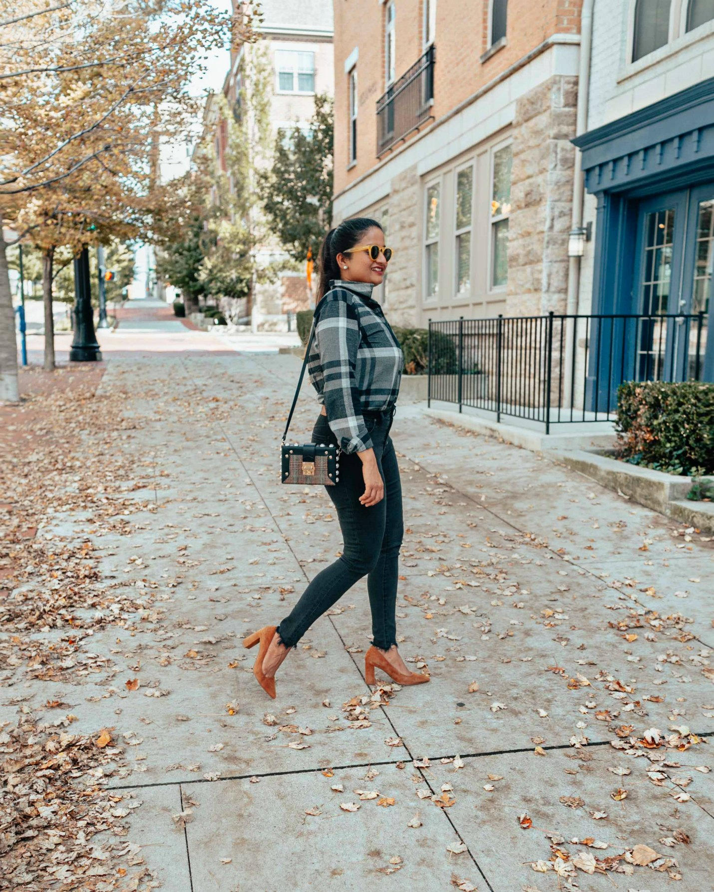 wearing Eddie Bauer Women's Stine's Favorite Flannel Shirt | Eddie Bauer boyfriend flannel shirt styled 4 ways, featured by top Ohio modest fashion blog, Dreaming Loud