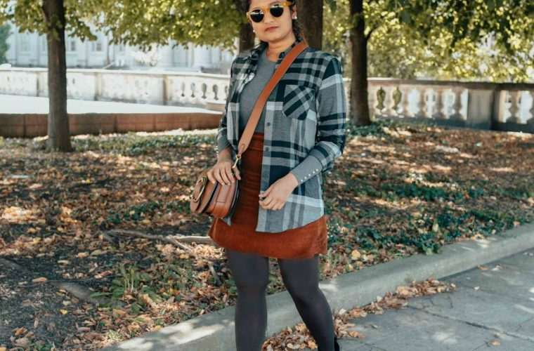 wearing Eddie Bauer stones boyfriend flannel shirt in black | Eddie Bauer boyfriend flannel shirt styled 4 ways, featured by top Ohio modest fashion blog, Dreaming Loud