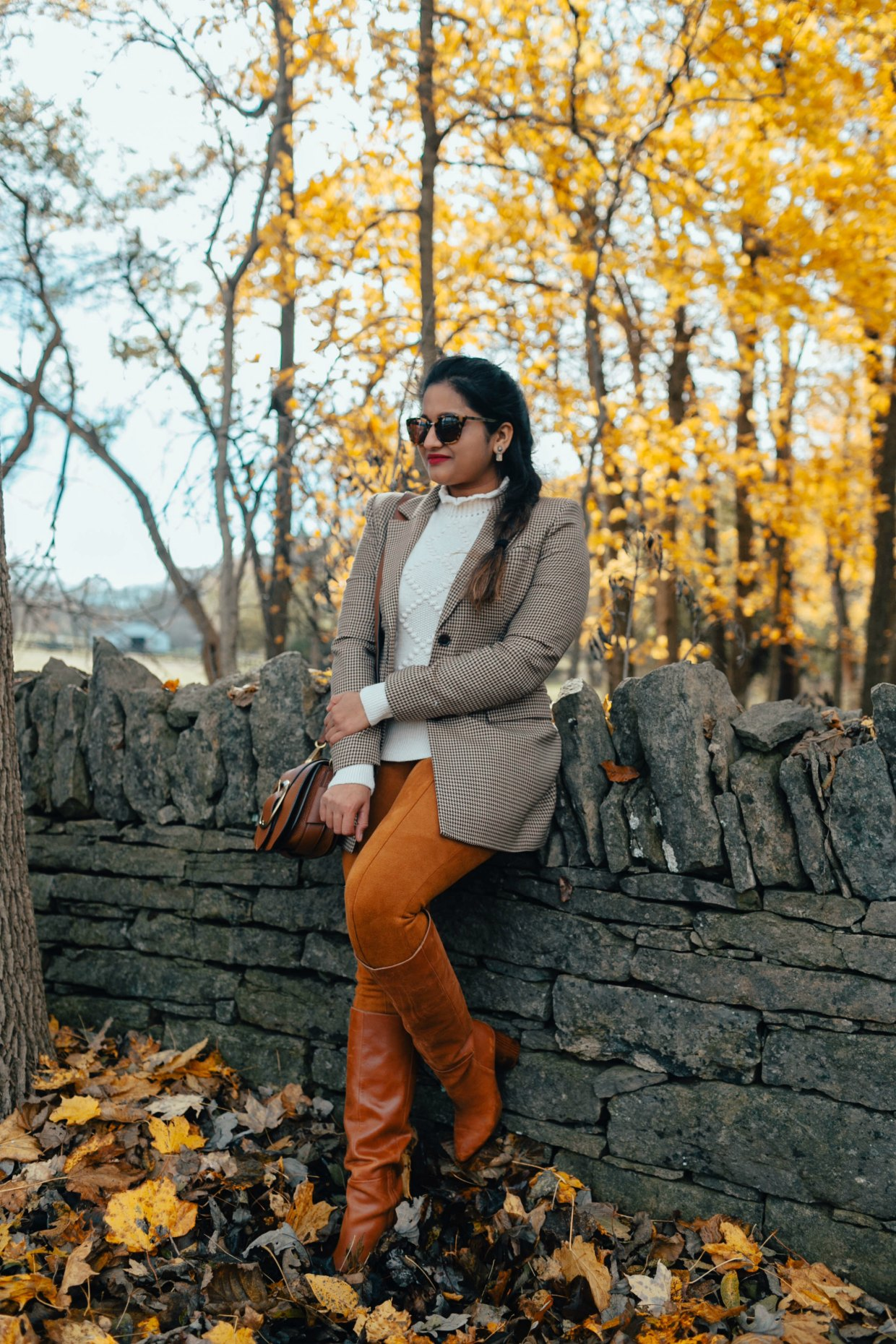 wearing Faux Suede Leggings  | The Best Fall Boots Under $150 featured by top US fashion blog, Dreaming Loud: over the knee leather boots
