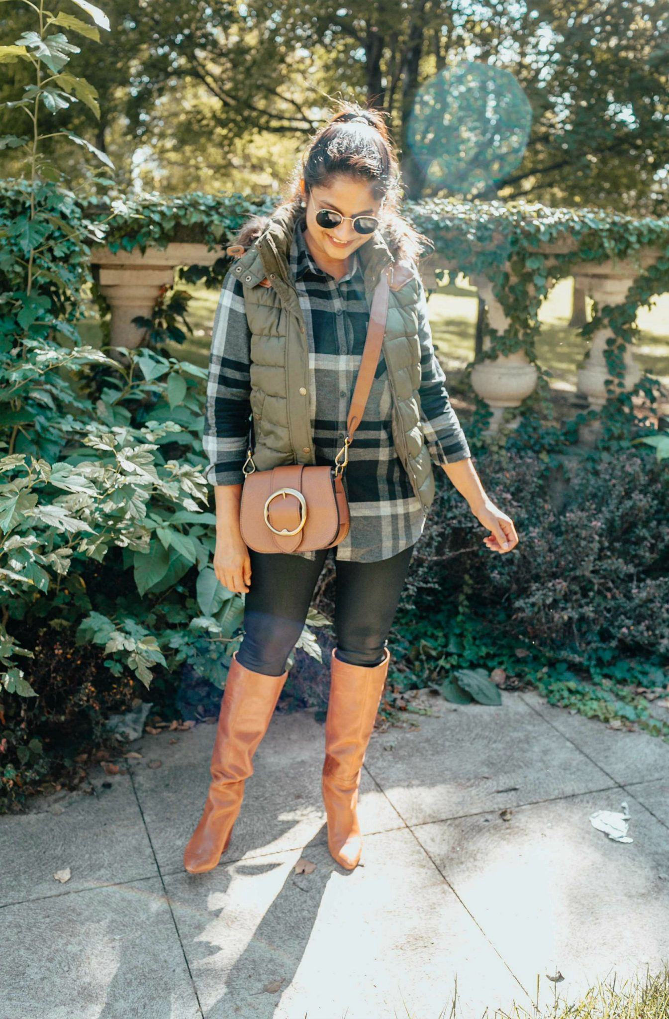 wearing Nine West Christie knee high boots (1) | Eddie Bauer boyfriend flannel shirt styled 4 ways, featured by top US modest fashion blog, Dreaming Loud