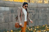 wearing Ralph Lauren Pebbled Leather Lennox Bag Saddle | The Best Fall Boots Under $150 featured by top Ohio fashion blog, Dreaming Loud: over the knee leather boots