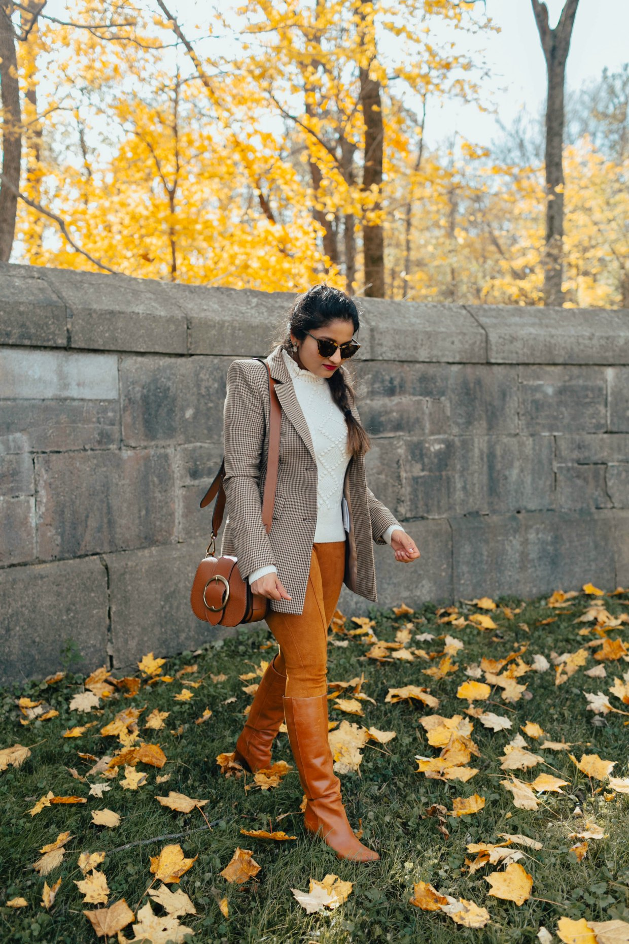 wearing Ralph Lauren Pebbled Leather Lennox Bag Saddle | The Best Fall Boots Under $150 featured by top US fashion blog, Dreaming Loud: over the knee leather boots