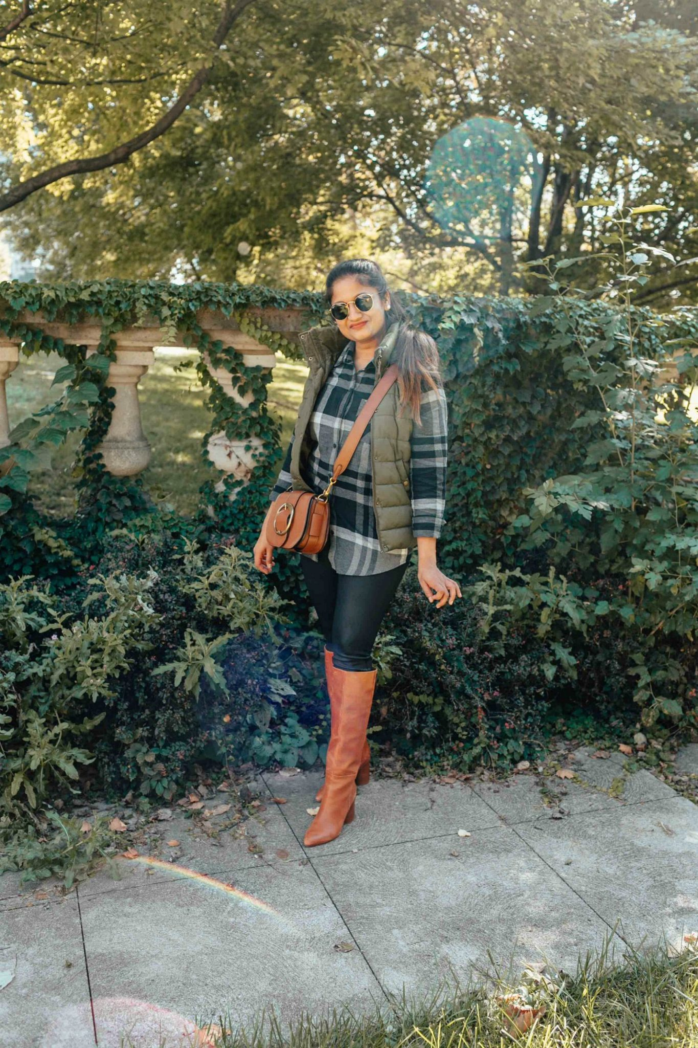 wearing Ralph Lauren Pebbled Leather Lennox Bag Saddle bag (1) | Eddie Bauer boyfriend flannel shirt styled 4 ways, featured by top Ohio modest fashion blog, Dreaming Loud
