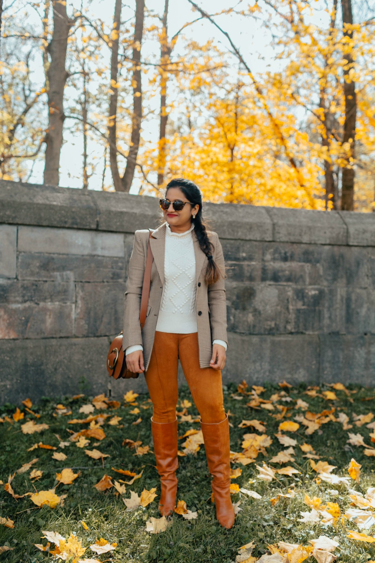 wearing and other stories Cable Knit Bobble Sweater | The Best Fall Boots Under $150 featured by top US fashion blog, Dreaming Loud: over the knee leather boots
