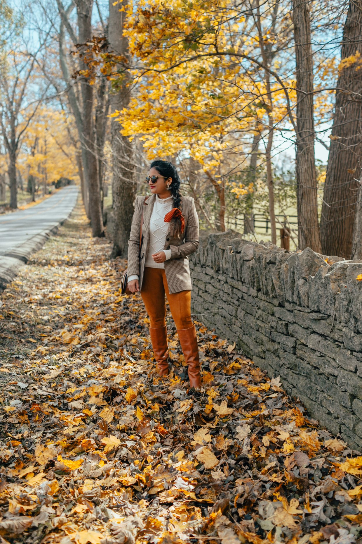 wearing and other stories Hourglass Houndstooth Blazer | The Best Fall Boots Under $150 featured by top US fashion blog, Dreaming Loud