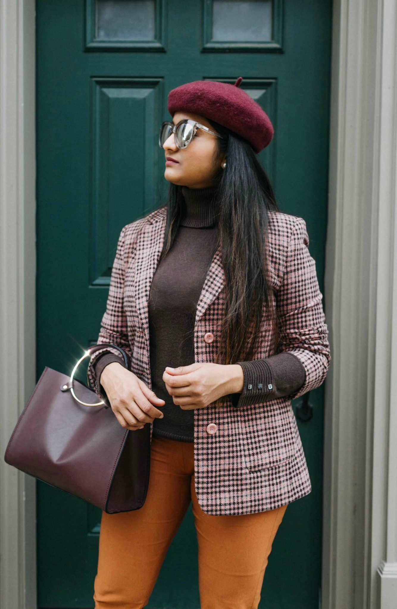 wearing chadwicks of boston check wool blazer| 13 Cozy and Cute Thanksgiving outfit ideas featured by top US modest fashion blog, Dreaming Loud