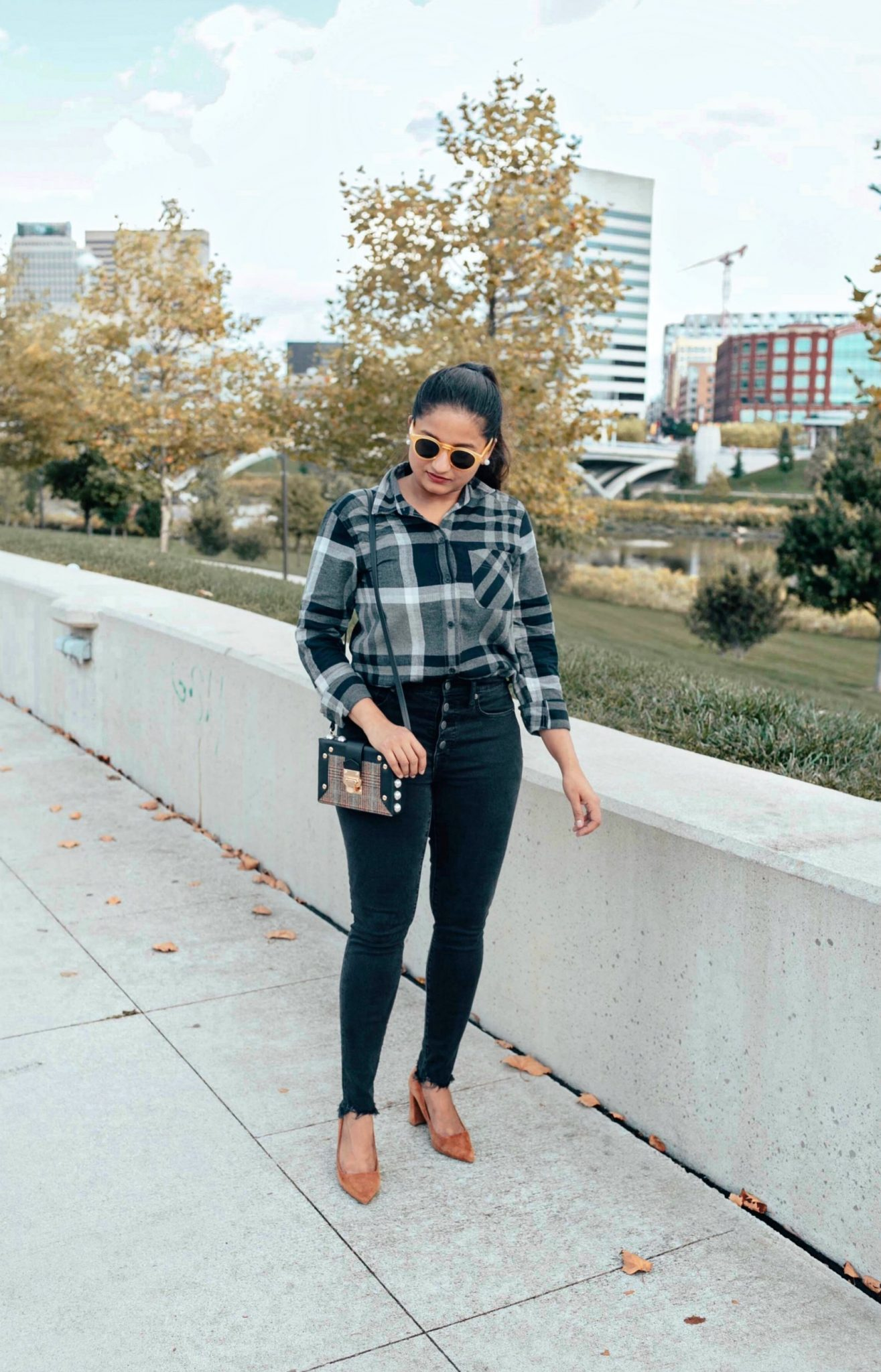 wearing madewell 9 High-Rise Skinny Jeans in Berkeley Black Button-Through Edition | Eddie Bauer boyfriend flannel shirt styled 4 ways, featured by top Ohio modest fashion blog, Dreaming Loud