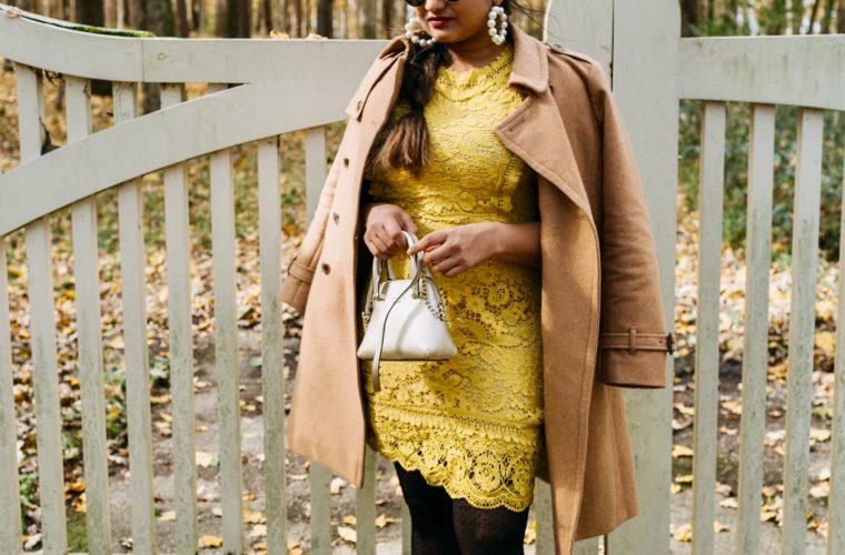 Cute Modest lace dresses featured by top Ohio modest fashion blog, Dreaming Loud: image of a woman wearing a Vici lace dress, Gisi earrings, Tommy Hilfiger belted military coat, Ann Taylor floral tights, J.Crew factory suede pumps and a Michael Kors satchel handbag