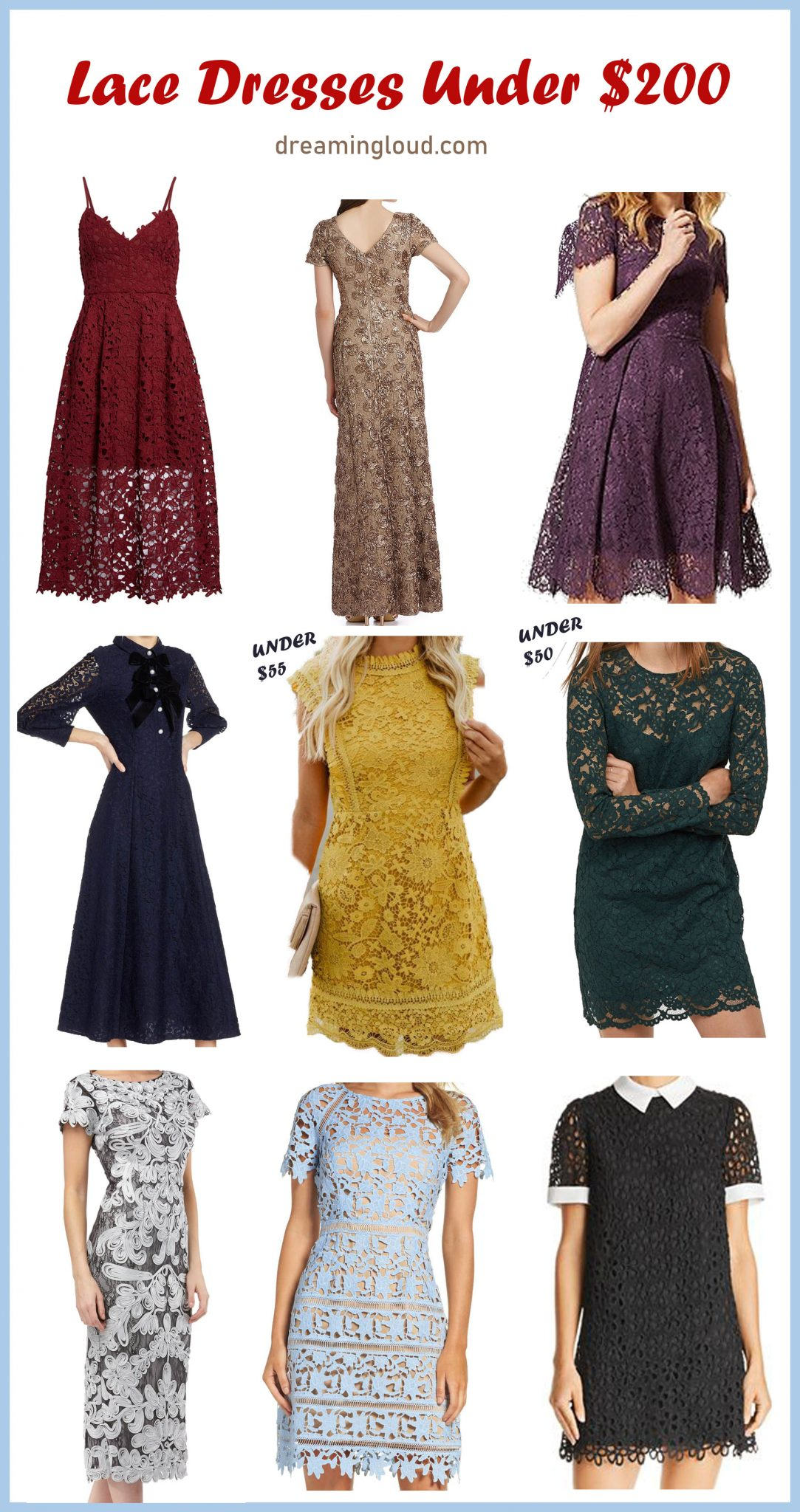 9 Cute Lace Dresses under $200 | Cute Modest lace dresses featured by top US modest fashion blog, Dreaming Loud