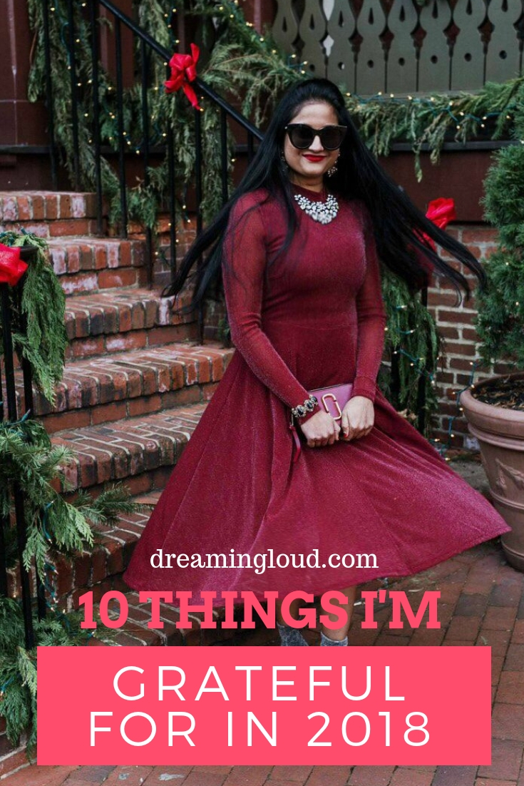 Top 10 things to be grateful for featured by top Ohio life and style blog, Dreaming Loud: image of a woman wearing a SheIn red glitter dress, Michael Kors glitter ankle booties, Baublebar necklace, crystal drop earrings, Francesca's stretch bracelet, Marc Jacobs bag and Le Specs Sunglasses
