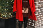 how to wear Clare V leopard clutch | 6 tips to style your sweater dress featured by top Ohio fashion blog, Dreaming Loud: image of a woman wearing a Forever21 sweater dress, Boden red coat, leopard print belt, leopard clutch, An Taylor floral tights and Cole Haan block heel pumps