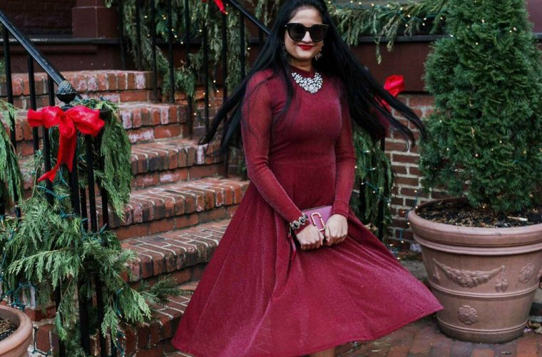 how to wear Michael Kors glitter boots | Top 10 things to be grateful for featured by top Ohio life and style blog, Dreaming Loud: image of a woman wearing a SheIn red glitter dress, Michael Kors glitter ankle booties, Baublebar necklace, crystal drop earrings, Francesca's stretch bracelet, Marc Jacobs bag and Le Specs Sunglasses