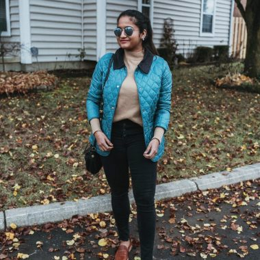 wearing Barbour Annandale Quilted Jacket | Top Ohio fashion blog, Dreaming Loud, features a Stunning Barbour Annandale Quilted Jacket, Everyone sweater, Madewell skinny jeans, Madewell loafers