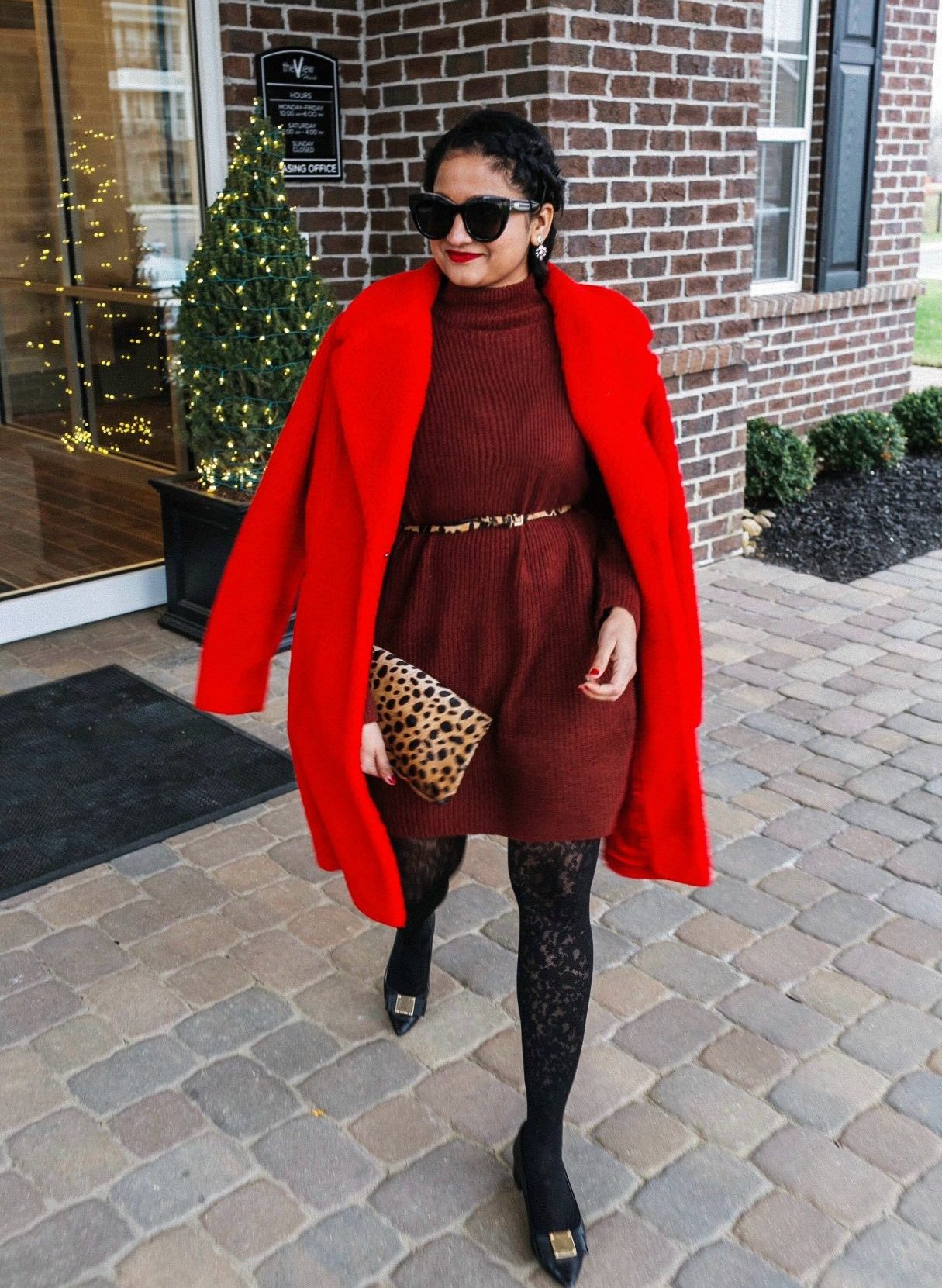 10 Winter Essentials For a Cozy Look featured by top Maryland modest fashion blogger, Dreaming Loud: image of a woman wearing Boden Hereford red fur coat