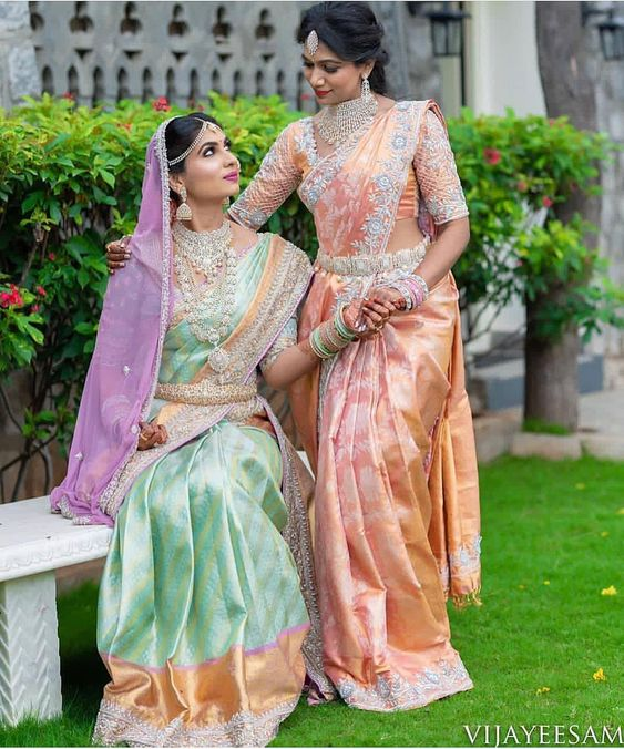 Pastel Color Kanjeevaram saree  | South indian wedding saree trends featured by top US and Indian fashion blog, Dreaming Loud: image of a pastel Saree