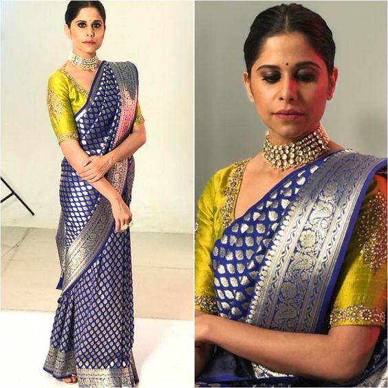 Silver border Kanjeevaram pattu bridal saree | South Indian wedding saree trends featured by top US and Indian fashion blog, Dreaming Loud: image of a saree with silver border